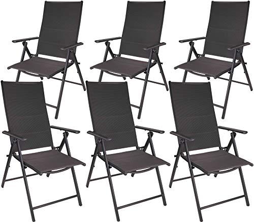 Brubaker 6er Set Gartenstühle Riva - Faltstühle klappbar- 7-Fach verstellbare Rückenlehnen - wetterfeste Klappstühle - Anthrazit