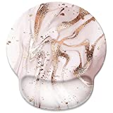 Rose Gold Marble Mouse Pad with Wrist Rest Support,Cute Custom Gaming Made Non Slip Rubber Base Mousepad, Ergonomic Mouse Wrist Rest Pad Computer Laptop Mousepad (Rose Gold Marble)