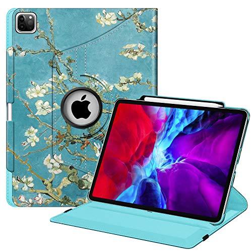 FINTIE Coque pour iPad Pro 12.9 2020 2018 avec Porte-Stylo [Charge sans Fil de Pencil 2]-Etui de Protection Rotation à 360 Degrés Housse Tablette Veille Réveil Automatique, Fleur