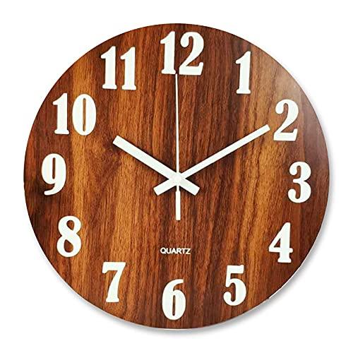 AWJ Reloj de Pared de Madera de Granja silenciosa, función de luz Nocturna, Reloj Decorativo Redondo de Estilo Vintage para Sala de Estar, Cocina, Dormitorio