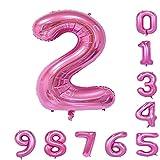 40インチ 風船 0-9 ピンクの数字ヘリウムの誕生日パーティーの装飾のアラビア数字2