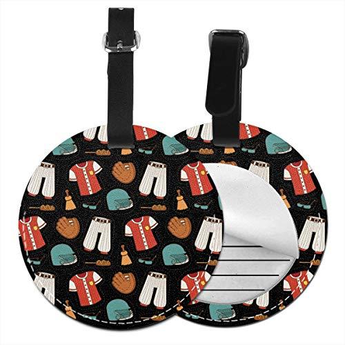 Slaytio Baseball-Anzug, rund, Koffer, PVC-Armband, Koffer-Etikett, Schwarz, 4 PCS