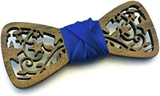 Papillon legno GIGETTO Stelle Nodo Raso Blu Made in Italy