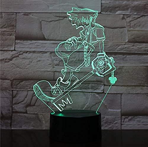 Lámpara de luz nocturna LED 3D Luces decorativas multicolores Niños Niños Regalos para bebés Juego Kingdom Hearts Lámpara de mesa Regalo de cabecera