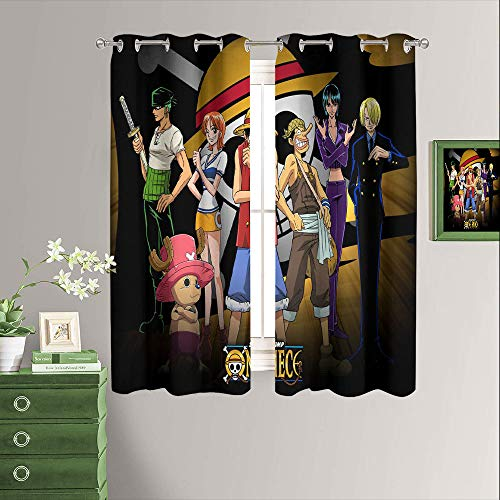 Japan Anime One Piece Window Curtains Blackout Drapes Nursery Essential Thermal Insulated Grommet Top Blackout Drapes W52 x L63 Inch