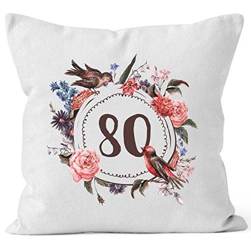 MoonWorks Kissen-Bezug Geburtstag 80 achtzig Geschenk-Kissen Blumen Blüten Blumenkranz Bordüre Kissen weiß Unisize