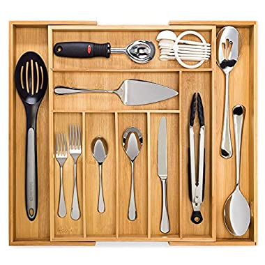 Dynamic Gear Bamboo Expandable Drawer Organizer, Premium Cutlery and Utensil Tray, 100% Pure Bamboo, Adjustable Kitchen Drawer Divider (7 Compartments Expandable)