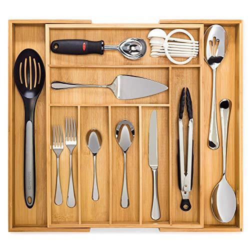 Bamboo Expandable Drawer Organizer, Premium Cutlery and Utensil Tray, 100% Pure...