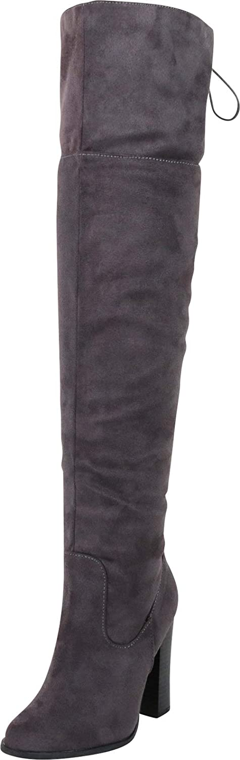 Cambridge Select Women's Thigh-High Back Corset Lace Stacked High Heel Over The Knee Boot