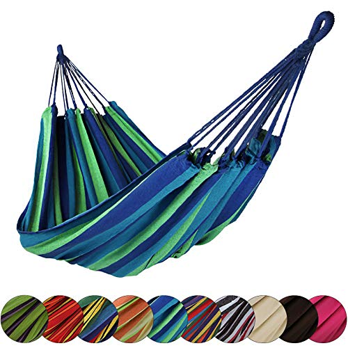 BB Sport Tuch Hängematte 200 x 140 cm max. Belastbarkeit 200 kg Tragetasche 1-2 Personen Camping Garten Balkon Terasse Wetterfest, Farbe:Mauritius