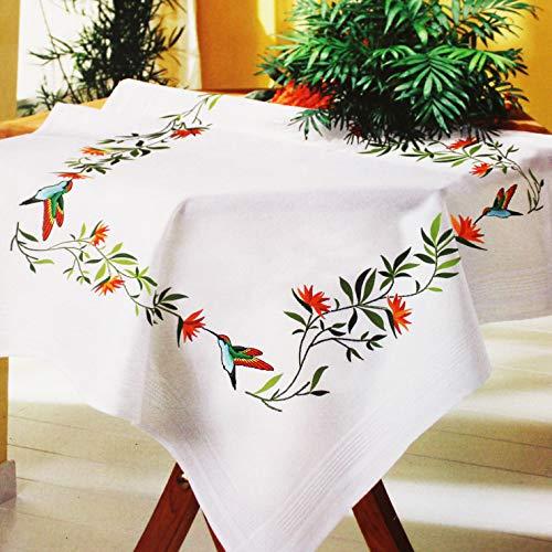 Kamaca - Kit de punto de tallo, punto plano y bordado en sombra para mantel, de algodón, con plantilla de bordado, diseño de colibrí