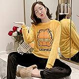 Wenhua Damen-Nachthemden aus Baumwolle mit Ärmeln, Pyjama für Damen aus Velours, Korallenrot,...