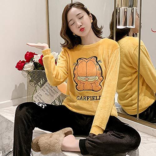 Wenhua Pajamas for Girls, Pijama de Mujer de Terciopelo Coral de Ocio de Invierno, Garfield-XXL, Fashion Pijama de Mujer Conjunto de Dos Piezas Ropa de Dormir