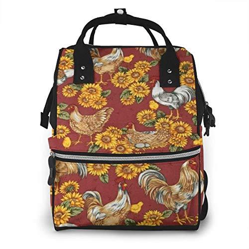 GXGZ Poule bébé poussin coq tournesol sac à dos imperméable à couches, compartiment avec deux poches et huit rangements, sacs d'allaitement élégants et durables pour les parents