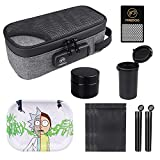 """Firedog Smell Proof Case with Combination Lock Kit - 7 Items - Stash Odor Smell Proof Containers Bag Pouch, Rolling Tray, 3X Resealable Mylar Bag, 2""""Grinder, 2X Doob Tube, Smell Proof Jar"""