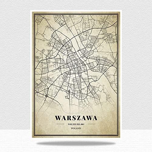 YMXCNM 1000 sztuk drewnianych puzzli dla dorosłych, retro układanka miejska, Polska Warszawa mapa puzzle zestawy dla rodziny, wyzwanie mózgu puzzle dla dzieci, gry rodzic-dziecko, puzzle inteligencji, 1000 szt