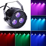 U`King 3 LED Par Light, 15W with 4in1 RGB Purple Mix Color DMX and Sound Flexible Control ...