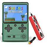 Retro Game Console,Handheld Video Game Console,Built-in 500 Classical FC Games Portable Gameboy Console,Mini Game Player Support for Connecting TV/Two Players,Present for Kids and Adult (Green)