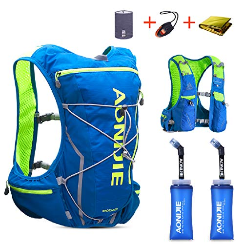 TRIWONDER Hydration Pack Backpack 10L Deluxe Running Race Hydration Vest Outdoors Mochilas for Marathon Running Cycling Hiking (Blue&Green - with 2 Soft Water Bottles (350ml), M-L)