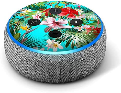 Tropical Red Hibiscus – Vinyl Decal Skin Compatible with Amazon Echo Dot 3rd Generation Alexa – Decorations for Your Smart Home Speakers, Great Accessories Gift for mom, dad, Birthday, Kids