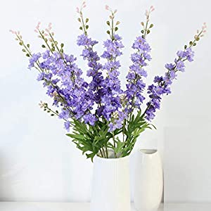 LXHSY 80Cm Artificial Flowers Delphinium Fake Violet DIY Orchid Floral Fake Flowers Bouquet Arrangement Wedding Home Decor Fall