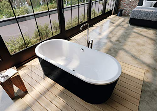 Kaldewei Meisterstück Classic Duo Oval, freistehende Badewanne, 170x75x42 cm, mit Schürze Außenfarbe schwarz, 113-7, Farbe: Weiss matt - 291449130711