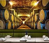 YIERLIFE Murales Decoración 3D pegatinas de pared - Bodega de madera nostálgica vintage de barril - 3D Papel Pintado Pared Fotomurales Tejido No Tejido Foto Mural Moderna Diseño Murales Fotográfico Pó