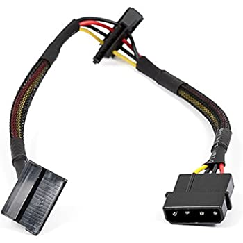Monoprice 108793 12-Inch 4-Pin Molex Male to 2 15-Pin SATA II Female Power Cable Net Jacket