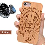 iProductsUS Wood Phone Case Compatible with iPhone 8 Plus, 7 Plus, 6 Plus, 6s Plus and Magnetic Mount, Engraved Cool Lion, Built-in Metal Plate, TPU Shockproof Covers (5.5 inch)