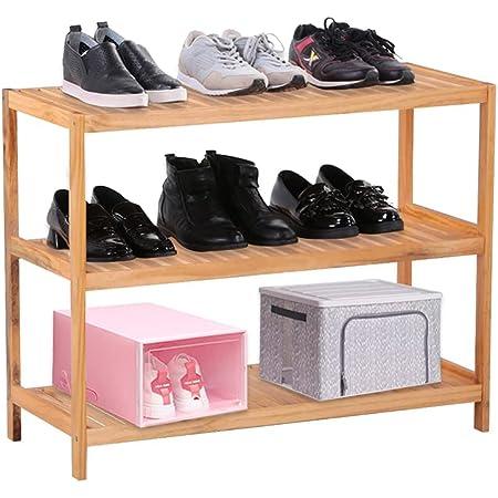 GOLDFAN Étagère à Chaussures à 3 Niveaux en Bois de Pin, 80 × 33 × 63 cm