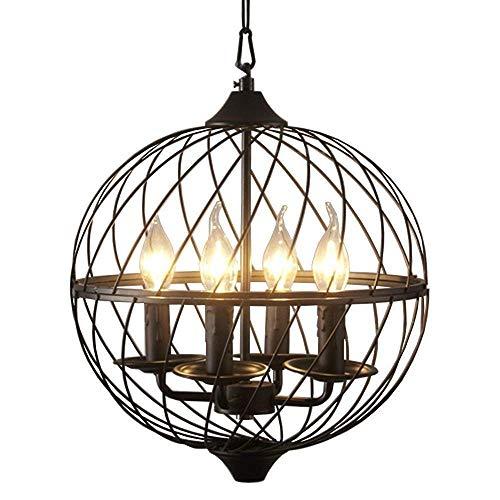 Techo de la vendimia de iluminación de la lámpara de la vela del globo de la lámpara colgante de luz E14 industrial Estilo Hierro forjado esférico Suspensión Light Cafe bar decorado luz de techo