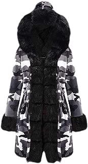 Macondoo Women Fleece Lined Faux Fur Hooded Camouflage Plus Size Coat Parkas Jackets