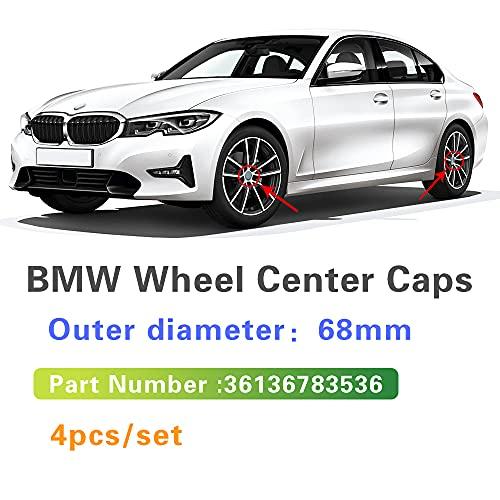 Tapas De Cubo De Centro De Rueda 4x 68mm Compatible con BMW E46 E39 E38 E90 E60 E36 E34 F10 F20 F36 X5 E53 E70 M E85 E87 E91 Cubierta del centro del centro de la rueda del automóvil Cap Cap Accesorios