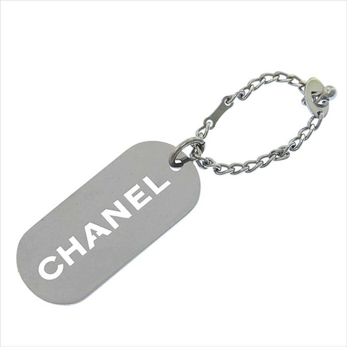 拮抗抽象土シャネル CHANEL キーホルダー チャーム メンズ可 ロゴ型抜きプレート 中古 T11897