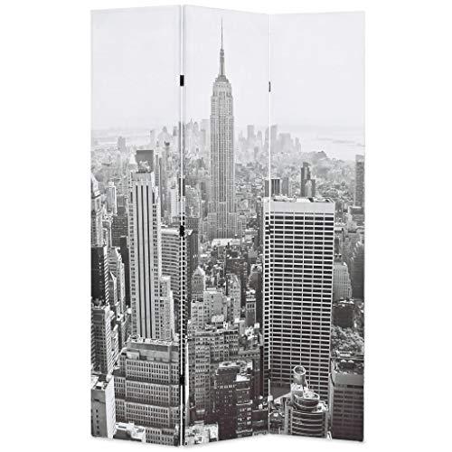 vidaXL Biombo Divisor Plegable 120x170 cm Nueva York Blanco y Negro Separador