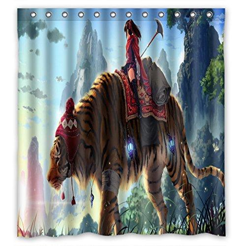 Doubee Personalisiert Animals Tiger Wasserdichtes Duschvorhänge PEVA Shower Curtain 66