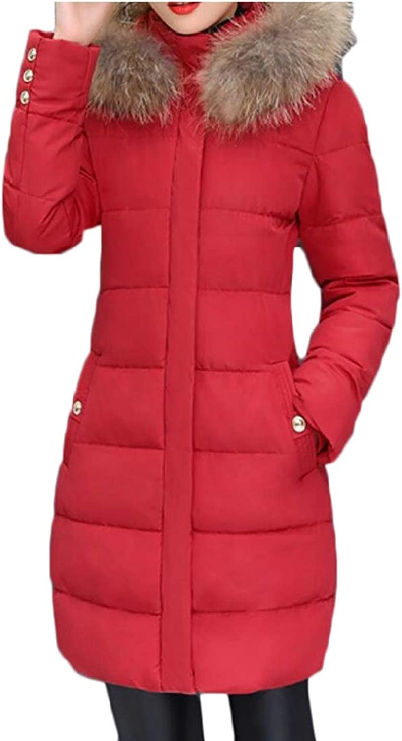Maweisong Women's Winter Warm Faux Fur Hooded Parka Puffer Jackets Down Coat