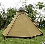 ZFLL Zelt 3-4 Personen Pyramide Aluminium Stange wasserdicht Familie Tipi Party Pavillon Fahren Sonnenschutz Strand Markise Outdoor Camping Zelt, Khaki