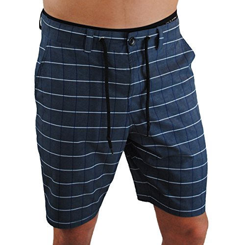 Mens Athletic Shorts, Perfect to be Worn as Mens Boardshorts, Mens Golf Shorts or as Mens Swim Shorts (Navy Plaid, 32)
