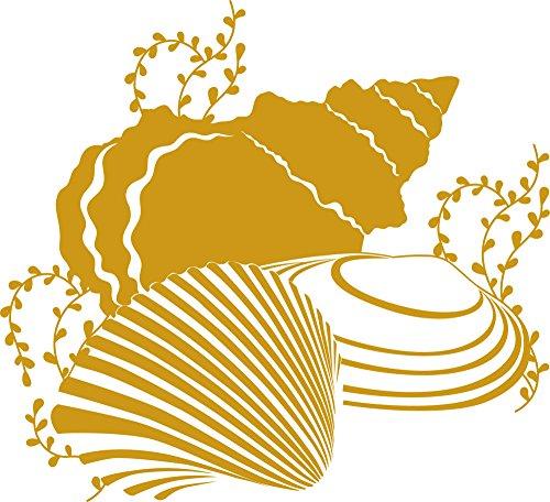 GrazDesign muurtattoo schelpen, maritiem voor badkamer, muurstickers tegels 55x50cm 820 Mustard
