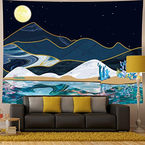 Generleo Moon Mountain Tapestry Psychedelic Watercolor Lake Mountain with Cactus Nature Landscape Tapestry Wall Hanging for Bedroom Living Room Dorm Room (X-Large, Cactus)