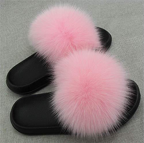Echte Fuchspelz Hausschuhe Rutschen Indoor Outdoor Flachsohlen Soft Sommer Schuhe Damen Luxus,40To41(27.5Cm)