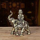 XUQIANG Escultura de Elefante tailandés Decoración de Escritorio Adorno de Resina Lucky Buddha Statue Crafts, Decoración de Porche de Sala de Estar en casa - 9x4.7x10.6in Artesanía