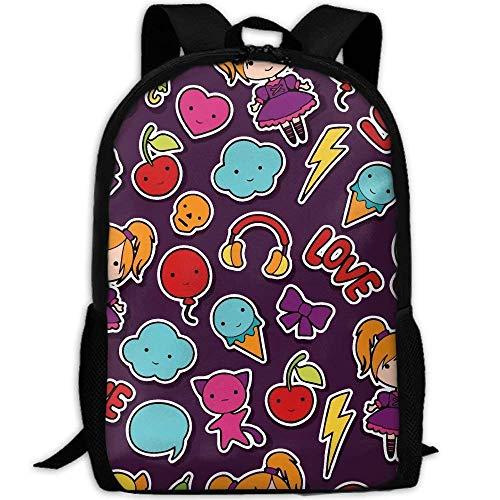 TTmom Schulrucksack,Schüler Bag,Rucksack Damen Herren Cute Cartoon Doodles Print Custom Casual School Bag Backpack Multipurpose Travel Daypack