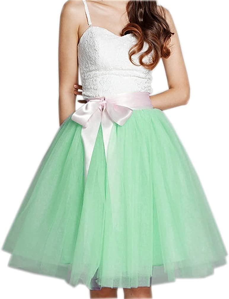 Women's XL Long Skirt, A-line Short Skirt, Tulle Long Skirt, Tulle Wedding Dress, Tulle Dress (Color : Mint, Size : XX-Large)