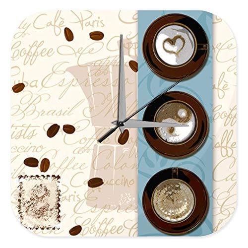 LEotiE SINCE 2004 Wanduhr mit geräuschlosem Uhrwerk Dekouhr Küchenuhr Baduhr Restaurant Küchen Deko Kaffee Milchschaum Herz Yin Yang Wand Acryl Uhr 25x25 cm