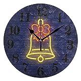 gardenia store Reloj de pared redondo con diseño de campanas navideñas, no hace tictac, funciona con pilas