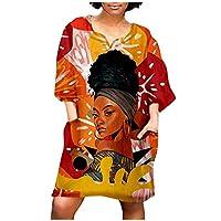 魅力的 アフリカのレトロプリントVネックミディスリーブミニドレスレトロプリントミニドレス女性ファッション (Color : Red, Size : XL)