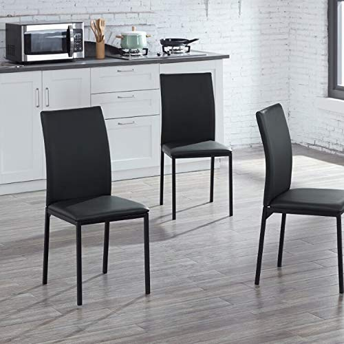 IDS Home Modern Dining Table Rectangular Top Wood and Chair Set, Kitchen Dining Room Furniture Rust Resistant Metal Leg Frame, Black (4Chiars)