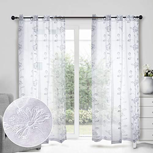 softan Voile Vorhänge Lichtdurchlässig mit Ösen Blumenblatt Stickerei Transparent Gardinen für Fenster Wohnzimmer Schlafzimmer, 2er-Set, je 175x140cm (Weißer Blumen)